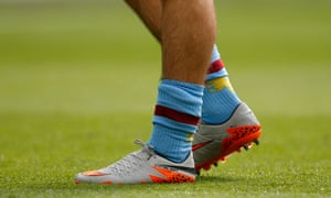 In a throwback to the days of Glenn Hoddle,  Jack Grealish is not wearing shin pads during the game.