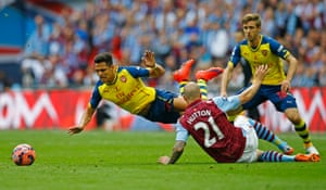 Arsenal's Alexis Sanchez goes flying after being fouled by Aston Villa's Alan Hutton.
