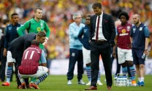 Aston Villa manager Tim Sherwood cuts a desolate figure.