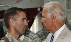 In 2009 Joe Biden talks with his son Beau at Camp Victory on the outskirts of Baghdad, Iraq.