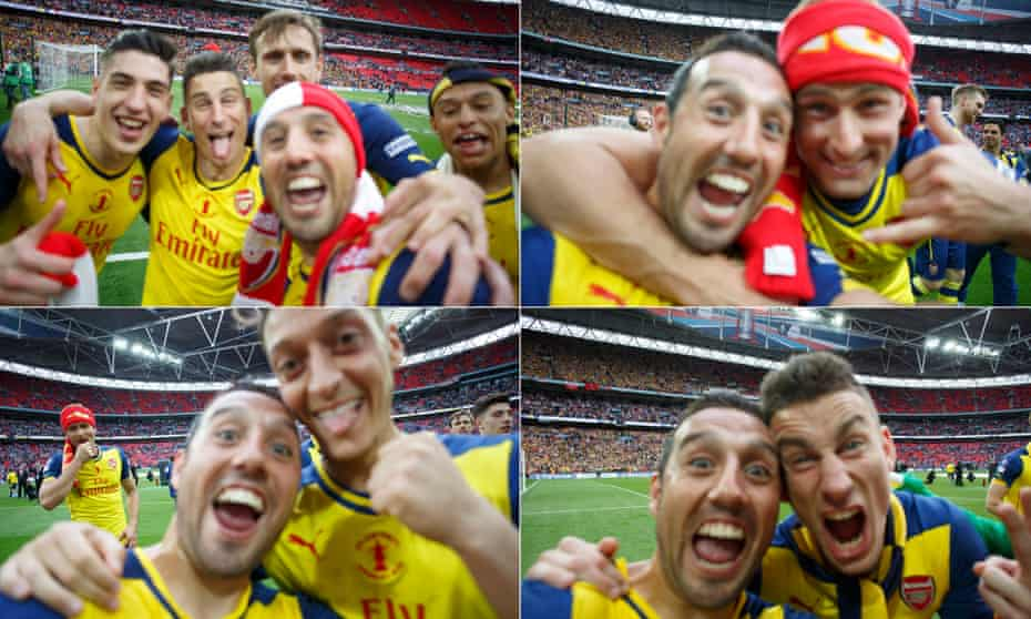 Santi Cazorla took a series of selfies with Tom Jenkins' unguarded camera at the end of the final.