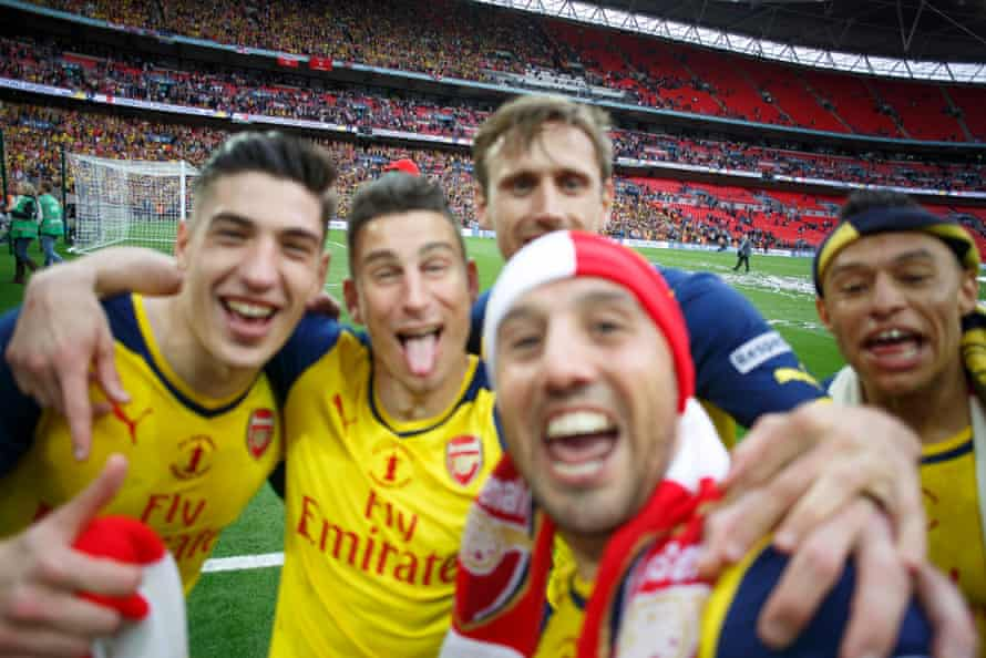 A selfie taken by Santi Cazorla amid Arsenal celebrations just after the final whistle.