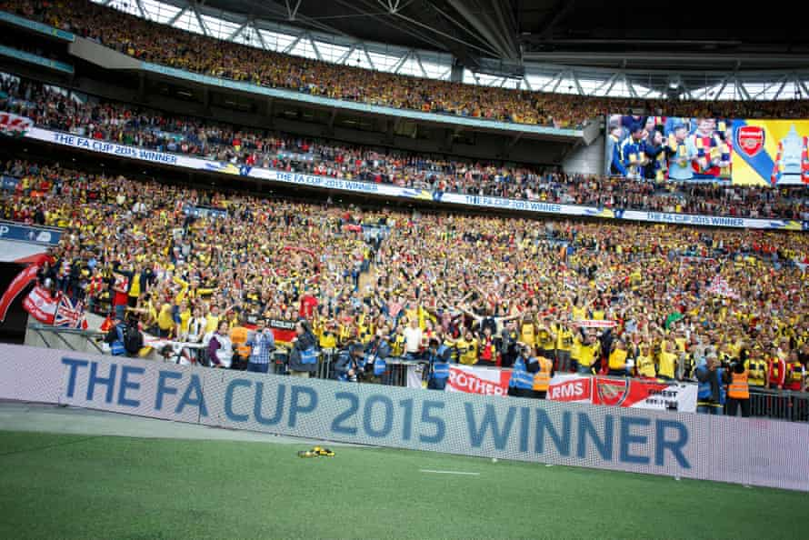 A picture taken by Santi Cazorla of the Arsenal celebrations just after the final whistle.