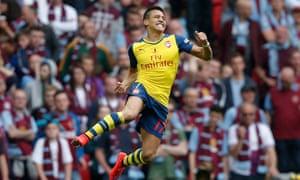 Alexis Sánchez celebrates his long-range goal that put Arsenal 2-0 up against Aston Villa at Wembley.