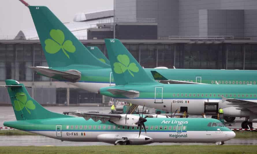 Aer Lingus jets at Dublin airport, Ireland
