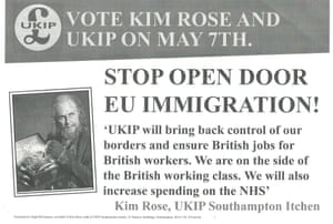 A leaflet that Kim Rose claims Tory MP gave him to distribute