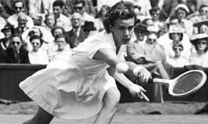 Doris Hart playing at Wimbledon in 1951.