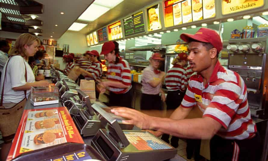 Young staff at a McDonalds branch in London
