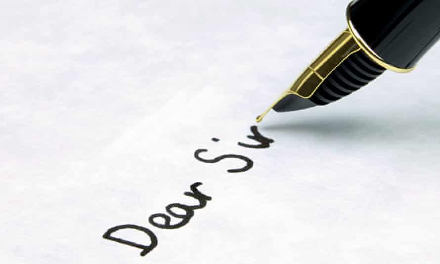 Dear Sir written using a fountain pen