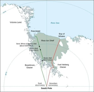 Map showing the polar journeys of the Scott's Terra Nova expedition (green) and Amundsen's expedition (red) to reach the South Pole