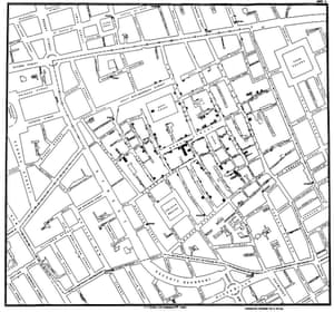 Original map by John Snow showing the clusters of cholera cases in the London epidemic of 1854, drawn and lithographed by Charles Cheffins