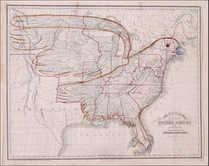 "Map of the territory of the United States in 1833 (ignoring the claim on Oregon) with lines added to form the shape of an Eagle. This is ""The Eagle Map of the United States"" from a book entitled Rudiments of National Knowledge, Presented To The Youth Of The United States, And To Enquiring Foreigners. By A Citizen Of Pennsylvania published by E.L. Carey & A. Hart in Philadelphia, 1833"