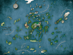 A redone version of Ursula K Le Guin's Earthsea map, drawn by Liam Davis
