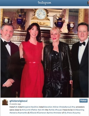 David and Samantha Cameron at the Syon House event, with Goldman Sachs banker Christopher French and artist Ghizlan El Glaoui