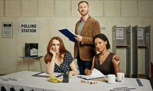 The Vote, L to R .Catherine Tate plays Kirsty Henderson.Mark Gatiss plays Steven Crosswell.Nina Sosanya plays Laura Williams.