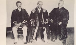 Former Liberian chief justice (1911-13) James A Toliver, centre, with associate justices T McCants-Stewart, left, and FER Johnson.