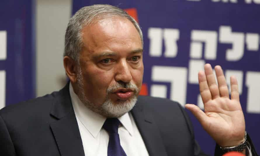 Avigdor Lieberman at the Knesset in Jerusalem on 4 May.