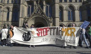 People demonstrating against TTIP in Manchester. The proposed trade deal between the European Union and the United States would make the blocs the biggest free-trade area in the world.
