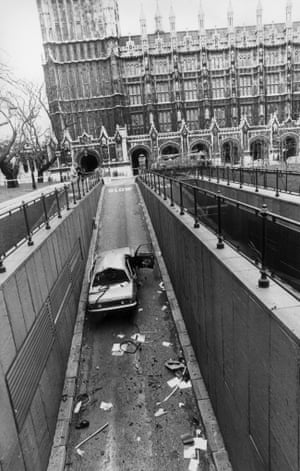 The wreckage of a car hit by an INLA bomb killing the Tory spokesman on Northern Ireland, Airey Neave, in 1979.
