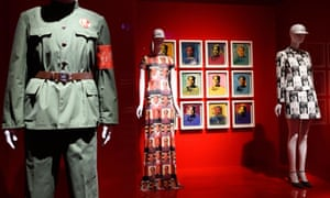 Artwork by Andy Warhol and a dress by Vivienne Tam are displayed as part of the Met's China Through the Looking Glass.