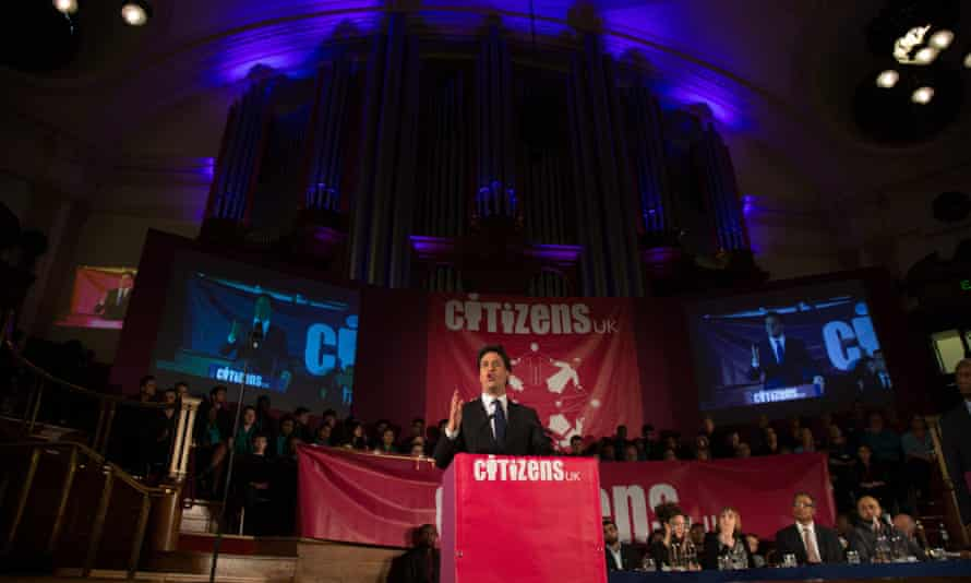 Labour leader Ed Miliband speaks at the Citizens UK event at Westminster Central Hall.