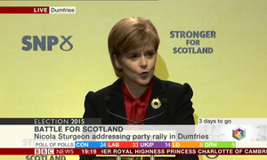 Nicola Sturgeon speaks at an SNP rally in Dumfries.