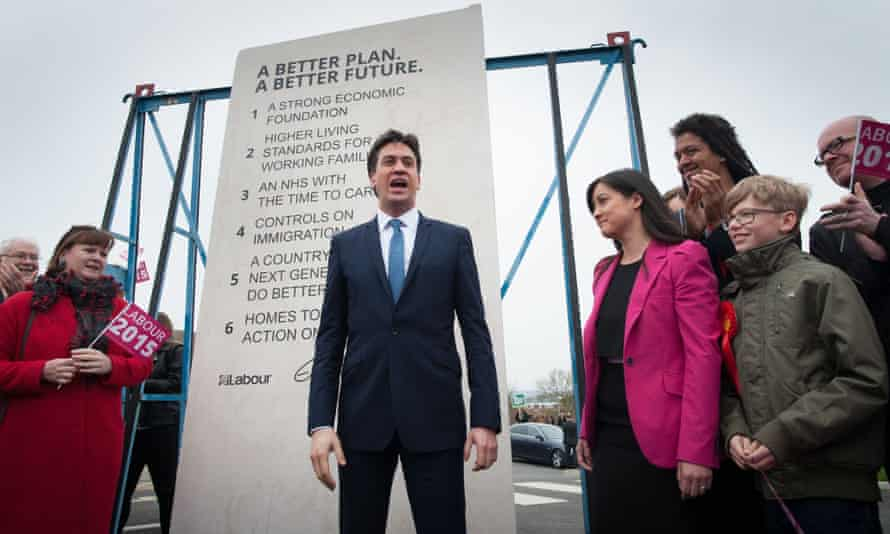 Labour leader Ed Miliband unveils Labour's pledges carved into a stone plinth in Hastings during General Election campaigning