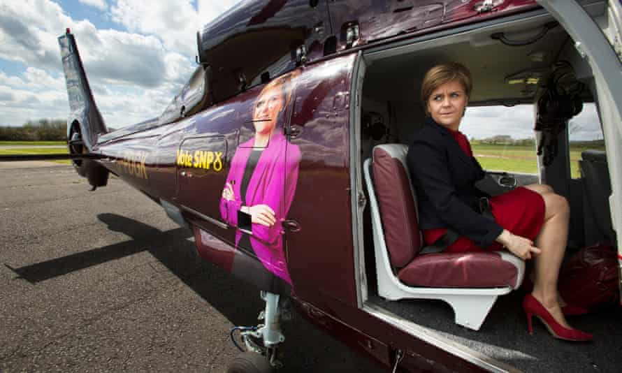 First Minister of Scotland and SNP leader Nicola Sturgeon travelling by Sturgeoncopter.