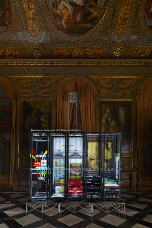 An installation titled Secret Power by New Zealand artist Simon Day at at the Biblioteca Nazionale Marciana as part of Venice Biennale