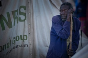 Kemegie Nkurikiye, 90, a refugee from Burundi, arrived at the Bugesera reception centre on 22 April with his wife and young son. He still doesn't have a place to sleep in the centre. 'I am sleeping under the trees and it is cold,' he says.