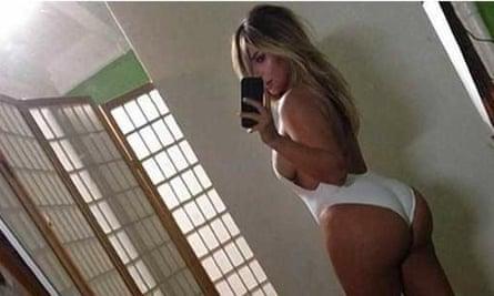 Kim Kardashian takes a selfie of her behind.