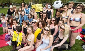 Protesters in London's Hyde Park this week, demonstrating against Protein World's 'Are you beach body ready' campaign.