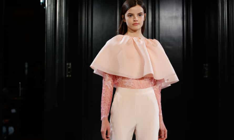 A model in Huishan Zhang's Spring Summer 2015 collection