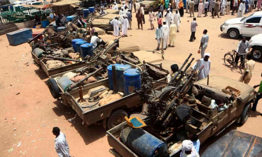 Military equipment allegedly seized during a battle in the contested area of south Darfur, Nyala, Sudan, on 4 May.