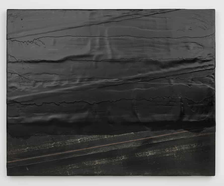 Diagonal bitumen (2014), one of Theaster Gates's 'tar paintings', inspired by his father's work as a roofer.