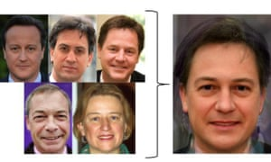 The faces behind the average: how David Cameron, Ed Miliband, Nick Clegg, Nigel Farage and Natalie Bennett became one.
