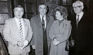 Bob Gillespie with Michael Foot, Helen Liddell and Denis Healey at Central America fundraiser event in the 1980s.