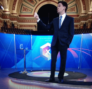 Miliband with his hand in his pocket on Question Time