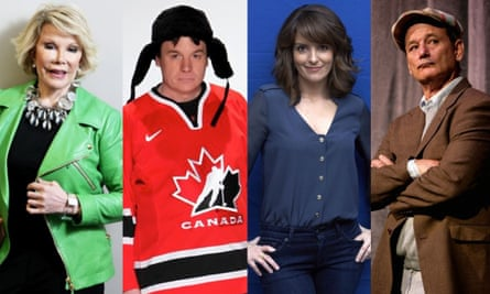 Second City stars … from left, Joan Rivers, Mike Myers, Tina Fey and Bill Murray