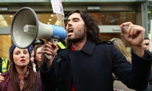 Russell Brand at a rally