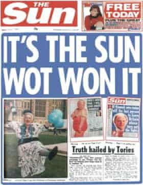 """The Sun front page 'It's the Sun wot won it"""" from 1992"""