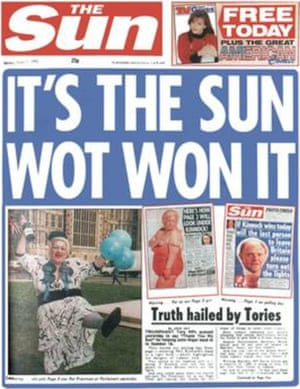"The Sun front page 'It's the Sun wot won it"" from 1992"