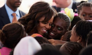 Michelle Obama at the all-girls Martin Luther King middle school in Dakar, Senegal.