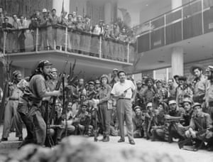 Cuban rebel soldiers in the Habana Hilton foyer, January 1959.