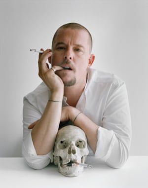 Alexander McQueen with skull and cigarettes, Clerkenwell, London, 2009