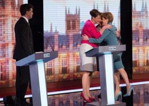 Leanne Wood, Natalie Bennett and Nicola Sturgeon embrace