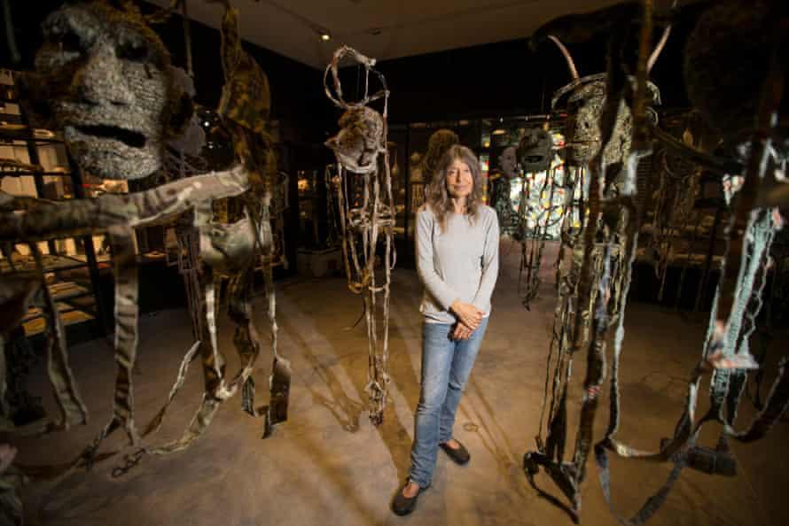 Artist Fiona Hall inside the pavilion.