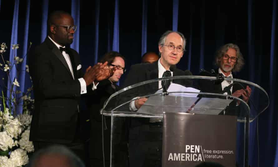 Charlie Hebdo editor-in-chief Gerard Biard accepts his magazine's award at PEN America.