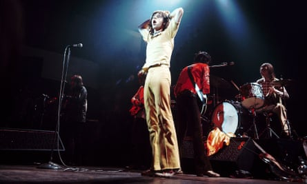 COLSTON HALL  Photo of Mick JAGGER and ROLLING STONES, L-R: Mick Taylor (background), Mick Jagger, Keith Richards, Charlie Watts performing live onstage
