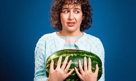 hadley freeman holding a watermelon